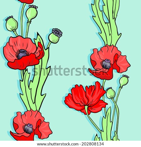 seamless  pattern with linear drawing poppy flowers, hand drawn  illustration