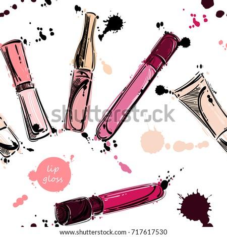 seamless pattern with lip gloss. Beauty and fashion. Fashion illustration. Beauty saloon. Glamour