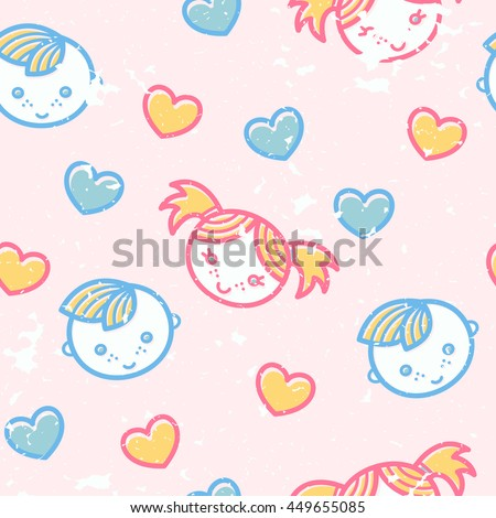 Seamless pattern with little boys and girls in cute childish style. Happy babyish color palette (pale pink, blue and yellow)