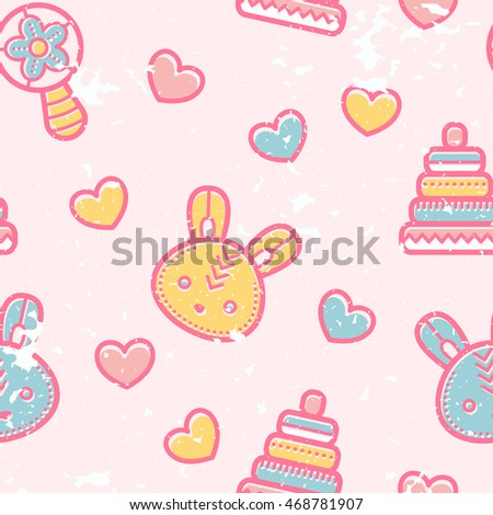 Seamless pattern with little bunnies and pyramid toys in cute childish style. Happy babyish color palette (pale pink, blue and yellow)