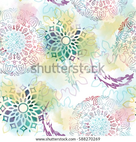 Seamless pattern with mandalas and feathers. Mystic background with watercolor effect. Textile print for bed linen, jacket, package design, fabric and fashion concepts.