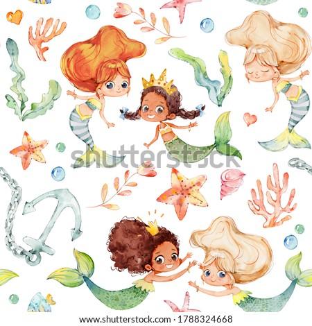 Seamless pattern with multiracial cartoon girls mermaids, sea elements, sea stars, fishes, flowers etc Mermeids Pattern on a white Сток-фото ©
