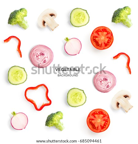 Seamless pattern with mushroom champignon, tomato, cucumber, radish, broccoli, pepper. Vegetables abstract background. Champignon, tomato, cucumber, radish, broccoli, pepper on the white background. #685094461
