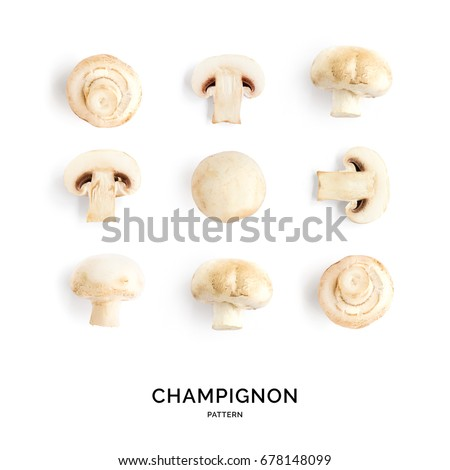 Seamless pattern with mushroom champignon. Vegetables abstract background. Champignon on the white background.