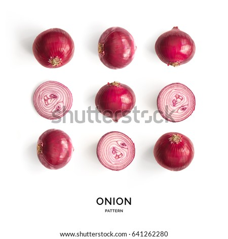 Seamless pattern with onion. Abstract background. Onion on the white background.