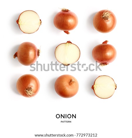 Seamless pattern with onion. Abstract background. Onion on the white background. ストックフォト ©
