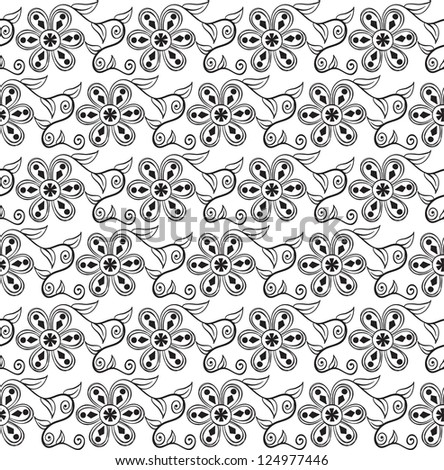 Seamless pattern with original black flowers on white background