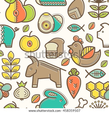 Seamless pattern with outlined food signs (cereals, fruits, meat, vegetables, milk, eggs, fish, honey) in creative ethnic style. Happy babyish color palette