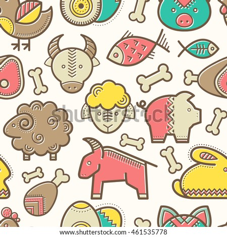 Seamless pattern with outlined food signs (protein food signs - pork meat, veal, mutton, rabbit, eggs, fish) in creative ethnic style. Happy babyish color palette