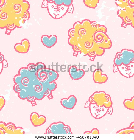 Seamless pattern with outlined sheep in cute childish style. Happy babyish color palette (pale pink, blue and yellow)