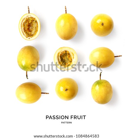 Seamless pattern with passion fruit. Tropical abstract background. Passion fruit on the white background.
