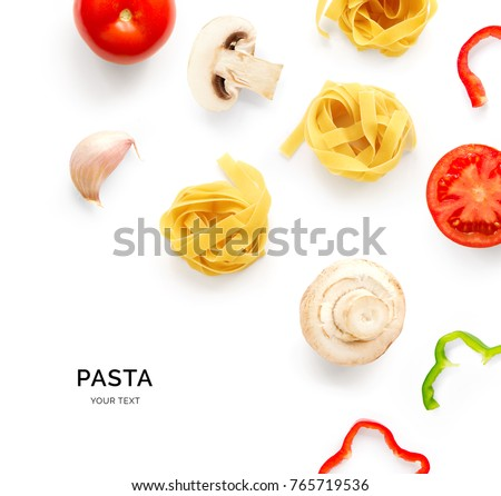 Seamless pattern with pasta, tomato, champignon and pepper. Food abstract background. Pasta and vegetables on the white background.