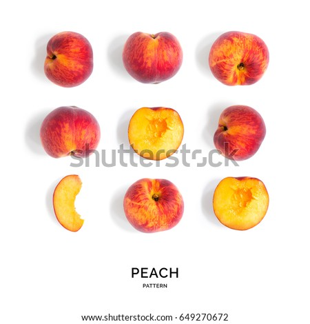 Seamless pattern with peach. Tropical abstract background. Peach on the white background.