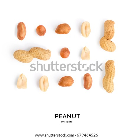 Seamless pattern with peanut. Abstract background. Peanut on the white background.