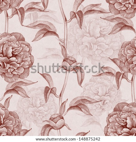Seamless pattern with peony drawings