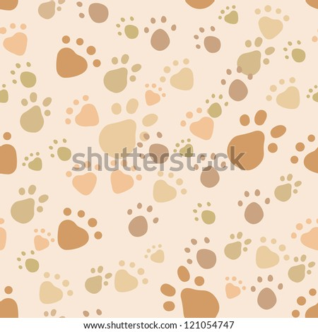 Seamless pattern with pet legs' imprint in monochrome beige and brown colors