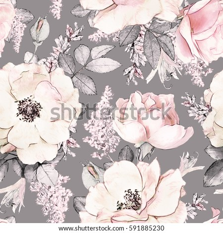 Stock Photo Seamless pattern with pink flowers and leaves on gray background, watercolor floral pattern, flower rose in pastel color, tileable for wallpaper, card or fabric