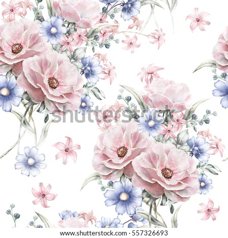 Seamless pattern with pink flowers and leaves on white background, watercolor floral pattern, rose in pastel color for wallpaper, card or fabric. textile design
