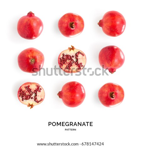 Seamless pattern with pomegranate. Tropical abstract background. Pomegranate on the white background.