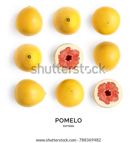 Shutterstock Seamless pattern with pomelo. Tropical abstract background. Pomelo on the white background.