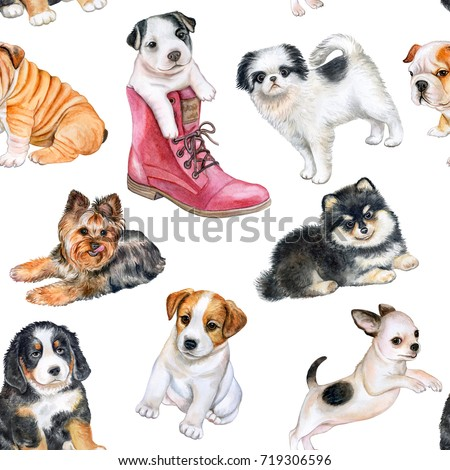 Seamless pattern with puppies. Wallpapers with dogs. Watercolor. Illustration.