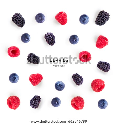 Seamless pattern with raspberry, blueberry and blackberry. Tropical abstract background. Berries on the white background.