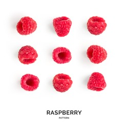Seamless pattern with raspberry. Tropical abstract background. Raspberry on the white background.