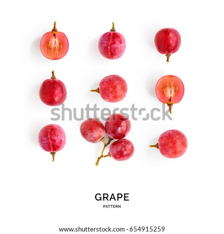 Seamless pattern with red grape. Tropical abstract background. Grape on the white background.