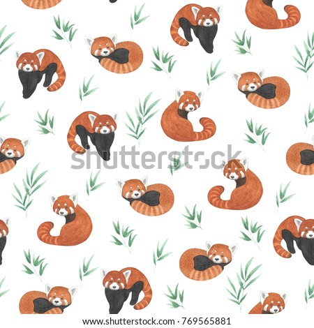 Seamless pattern with red panda. Watercolor hand drawn illustration of cute animals