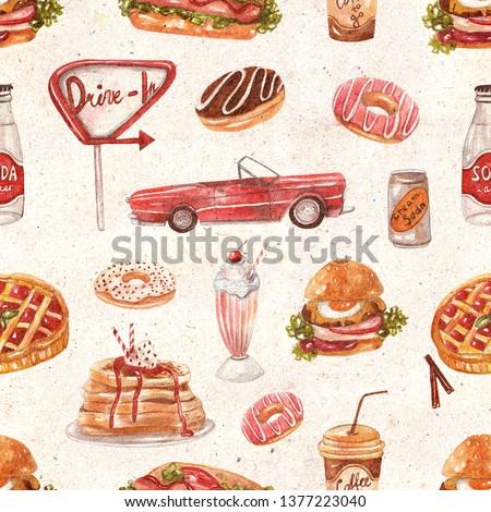 Seamless pattern with retro diner menu on textured vintage background. Burger, hot dog, soda, milkshakes, ice cream, berry pie, donuts, coffee