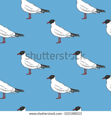 seamless pattern with seagulls in jpg