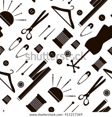 Seamless pattern with sewing items. Texture with tailor elements. Black and white background. Perfect background for fabric, packaging, textile or other surfaces #411217369