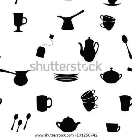 Seamless pattern with silhouettes of tea and coffee set