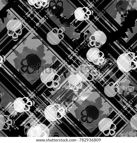 Seamless pattern with skulls. Striped gothic background with watercolor effect. Textile print for bed linen, jacket, package design, fabric and fashion concepts