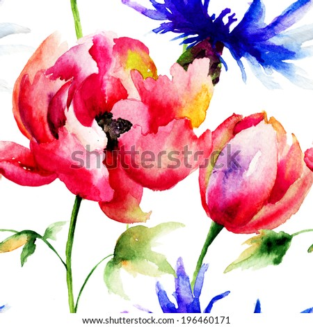 Seamless pattern with spring flowers Watercolor painting
