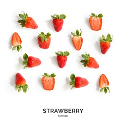 Seamless pattern with strawberry. Tropical abstract background. Strawberry on the white background.
