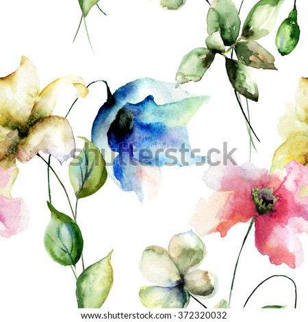 Seamless pattern with Stylized flowers, watercolor illustration