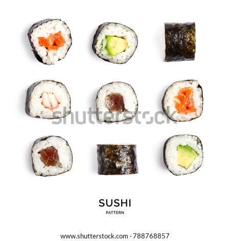 Seamless pattern with sushi. Food abstract background. Sushi on the white background.