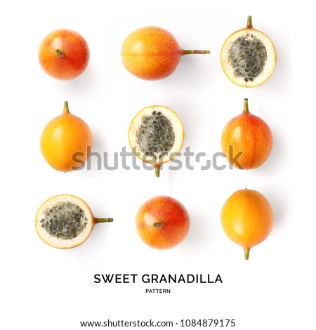 Seamless pattern with sweet granadilla fruit. Tropical abstract background. Sweet granadilla fruit on the white background.