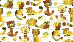 seamless pattern with the image of funny cats, tigers and leopards. Hand-drawn drawings with a watercolor texture. Surface design for fabric, wallpaper, wrapping paper, packaging, etc.