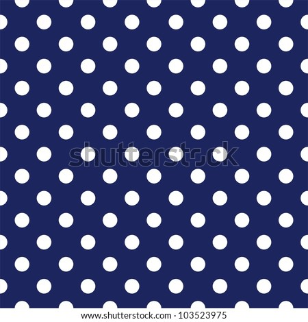 Seamless pattern with tile white polka dots on a sailor navy blue background