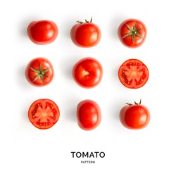 Seamless pattern with tomatoes. Abstract background. Tomato on the white background.