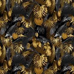 Seamless pattern with tropical leaves in gold color and black, can be used as background wallpaper