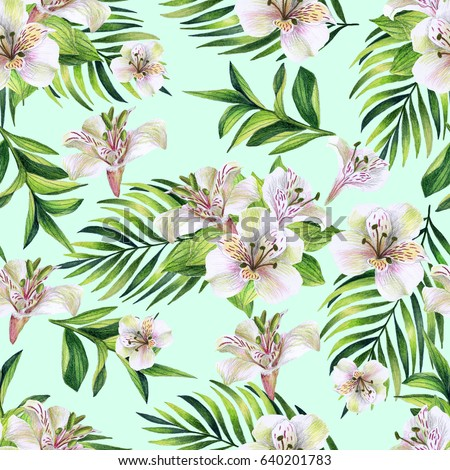 Seamless pattern with tropical white flowers on a mint background. Watercolor hand drawn