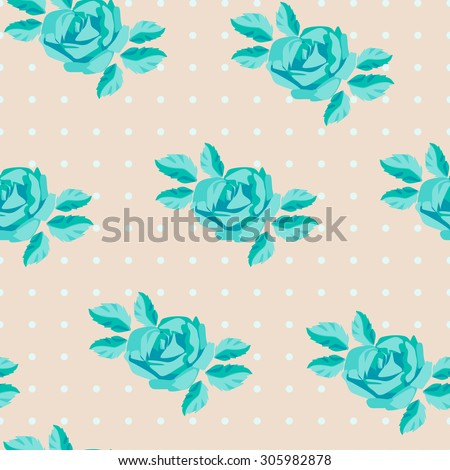 seamless pattern with turquoise roses. green roses on a beige background in peas