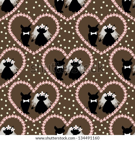 seamless pattern with  two love cat on  wedding