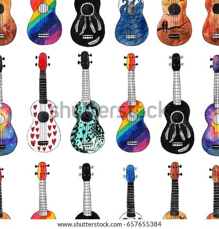 Seamless pattern with ukulele. Hawaiian guitars background