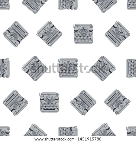 Seamless pattern with vintage typewriters illustrations, inspire writers, screenwriters, copywriters and other creative people