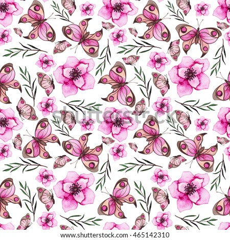 Seamless Pattern with Watercolor Bright Pink Flowers and Butterflies