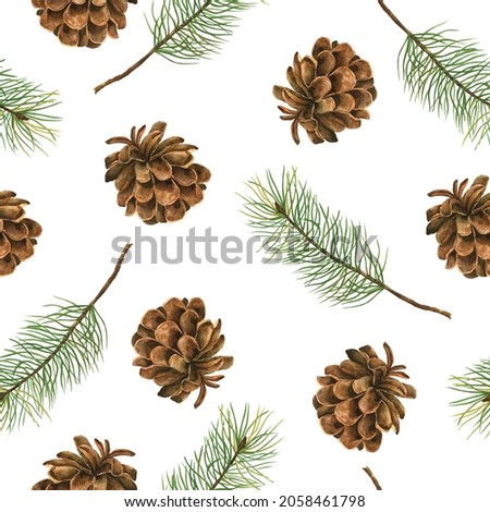 Seamless pattern with watercolor cones and Christmas tree branches. Hand drawn elements for greeting cards isolated on a white background.
